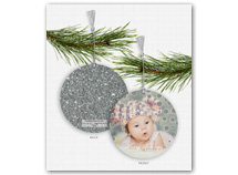 Silver Sparkle & Shine Photo Ornament Holiday Card
